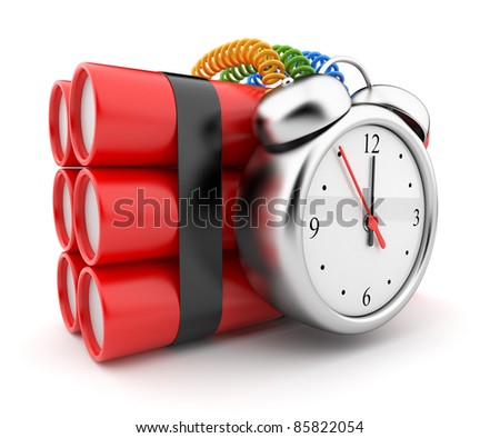 Bomb with clock timer 3D. Countdown. Icon on white background