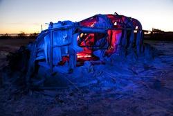 Bombay Beach Airstream trailer disintegrating into the mud at the Salton Sea.
