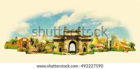 BOMBAY city high resolution panoramic watercolor illustration