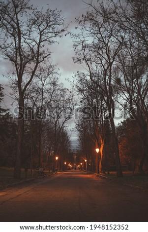 Bombilla's park at sunset Madrid Foto stock ©