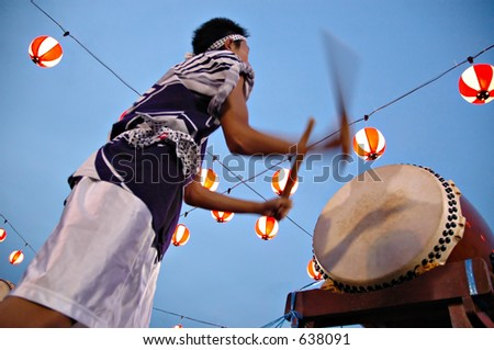 bon odori drummer in motion blur