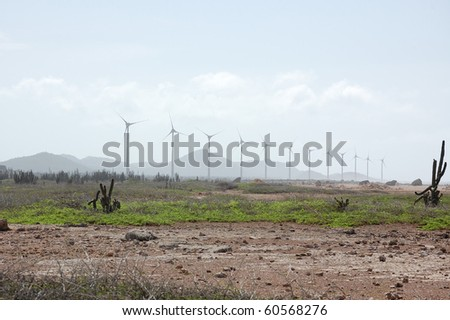Bonaire windmills provide power to the island.