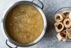 Bone Broth Bouillon in Metal Pan.