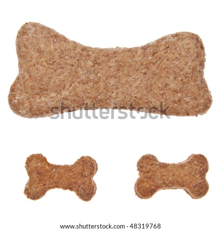 Bone shaped cookies or pet treats for your cat or dog.  Isolated on white with a clipping path.