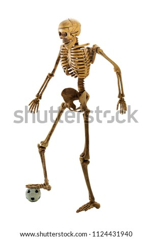 bone staning on ball action soccer player stock photo