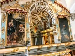 Bones Chapel and Church in Evora, Skull chapel in Sao Francisco Church - Évora
