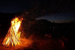 Bonfire a bonfire on summer night in tourist camp at Huvsgul lake, Mongolia