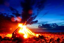 Bonfire at a beach in the night long exposure