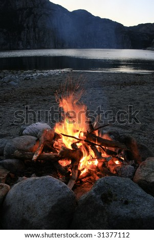 Bonfire at night by a Norwegian Fjord