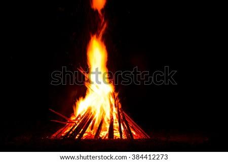 Bonfire. Celebrat of folk holiday Kupala Night (celebration relates to the summer solstice) in Ukraine.