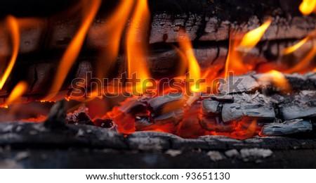 Bonfire close-up view - stock photo