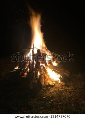 Bonfire Glistening in the Night