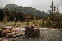 Bonfire in campsite in Banff National Park - Alberta, Canada