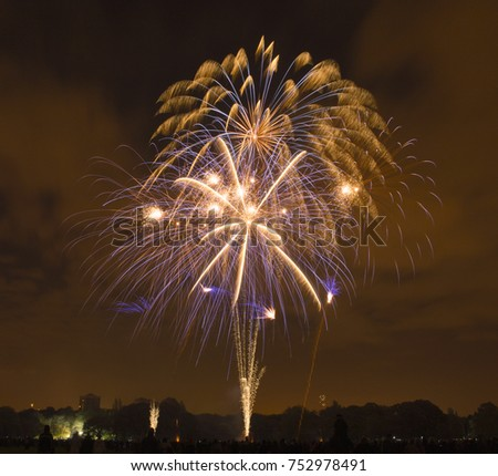 Bonfire night celebrations with a fireworks show at Sefton Park, Liverpool, UK. On 5th November #752978491