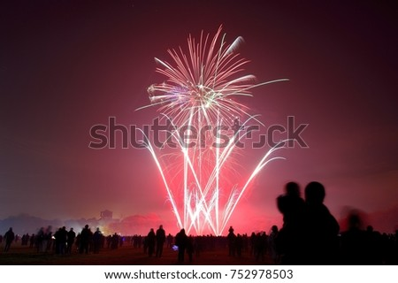 Bonfire night celebrations with a fireworks show at Sefton Park, Liverpool, UK. On 5th November #752978503