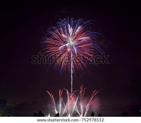 Bonfire night celebrations with a fireworks show at Sefton Park, Liverpool, UK. On 5th November #752978512