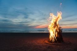 Bonfire on the beach of Narva Joesuu