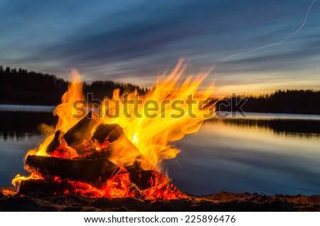 Bonfire on the beach sand