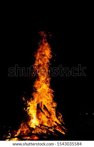 Bonfire that burns on a dark background, wood burning flame. #1543035584