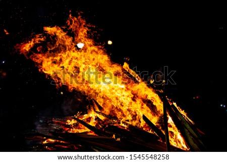 Bonfire that burns on a dark background, wood burning flame. #1545548258