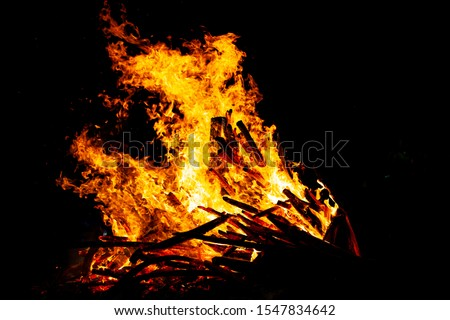 Bonfire that burns on a dark background, wood burning flame. #1547834642