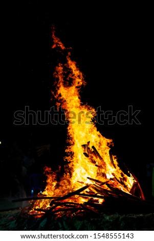 Bonfire that burns on a dark background, wood burning flame. #1548555143