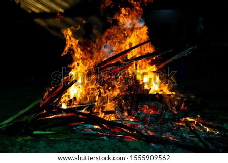 Bonfire that burns on a dark background, wood burning flame. #1555909562
