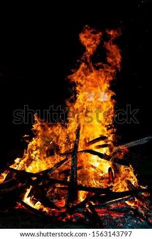 Bonfire that burns on a dark background, wood burning flame. #1563143797