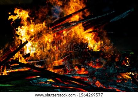 Bonfire that burns on a dark background, wood burning flame. #1564269577
