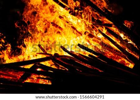 Bonfire that burns on a dark background, wood burning flame. #1566604291