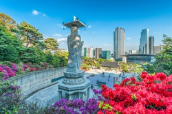 Bongeunsa Temple During the Summer in the Gangnam District of Seoul, South Korea.