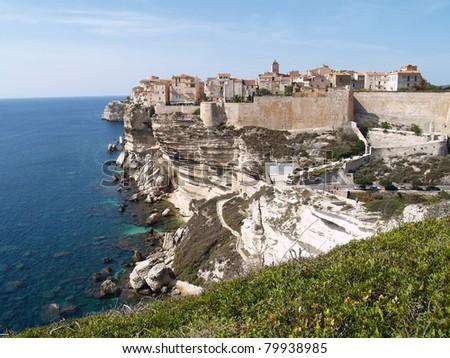 Bonifacio old town at sea cliff, Corsica France