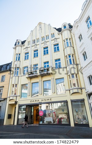 BONN, GERMANY - JANUARY 31: Zara store in a historical building with unidentified person on January 31, 2014 in Bonn. Zara is a world reknown low price textile company. Zara Home has home accessories.