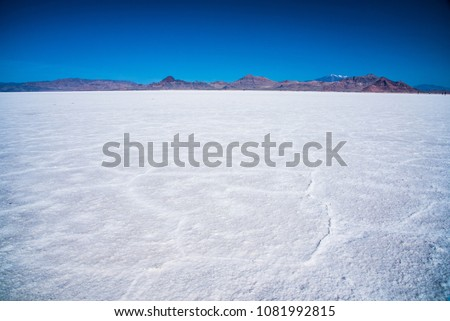 Bonneville Salt Flats and Silver Island Mountains in the background.  The world land speed record was established here.