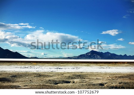 Bonneville Salt Flats mountains in Salt Lake City, Utah