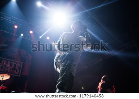 Bontida, Romania - July 22, 2018: Cancer Bats, a Canadian hardcore punk band from Toronto, performing live on the main stage at Electric Castle festival. #1179140458