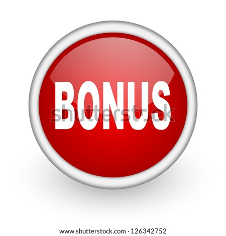 bonus red circle web icon on white background