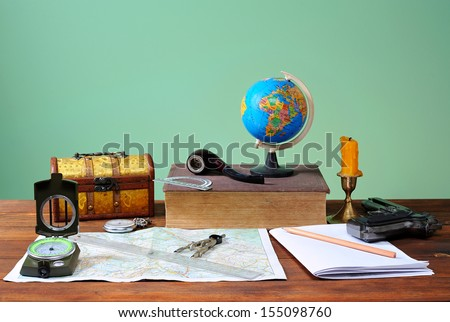 Stock Photo Book and different things on the wooden table