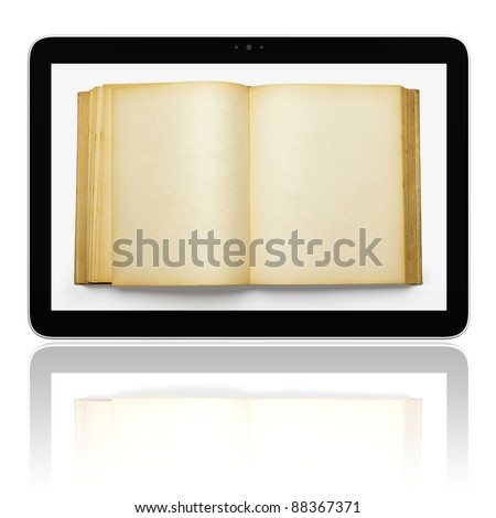 Book and generic teblet computer 3D model isolated on white, E-book E-reader concept