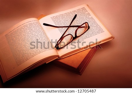 Book and Glasses. Vintage style