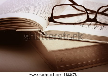 Book and Glasses Vintage style