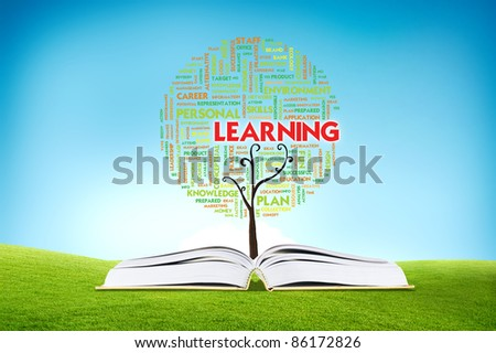 Book AND GROWING word cloud TREE for business concept, education - stock photo