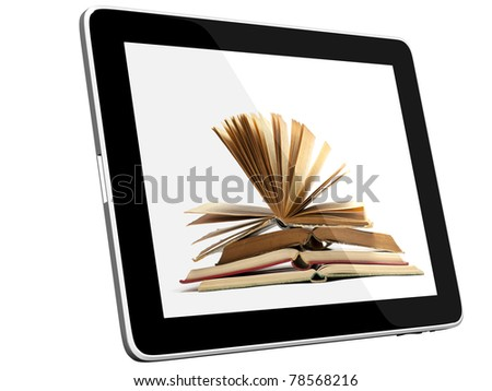 Book and teblet computer 3D model isolated on white