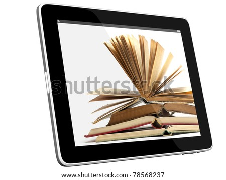 Book and teblet computer 3D model isolated on white, digital library concept, Objects with Clipping Paths