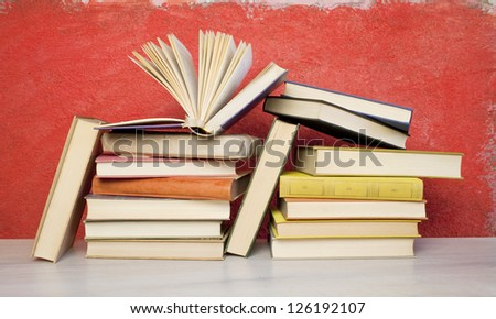 book arrangement, one opened