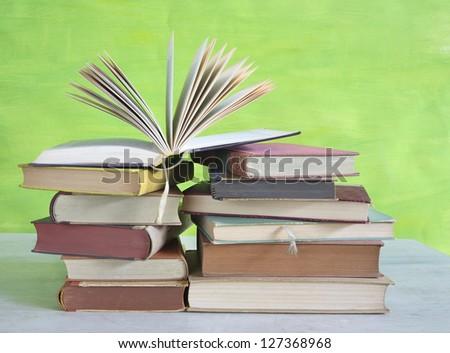 book arrangement with open book