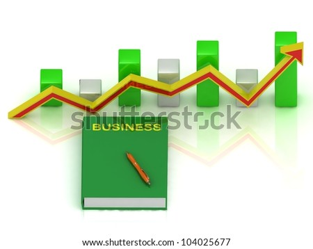 book business, pen and graph changes with an yellow-red arrow