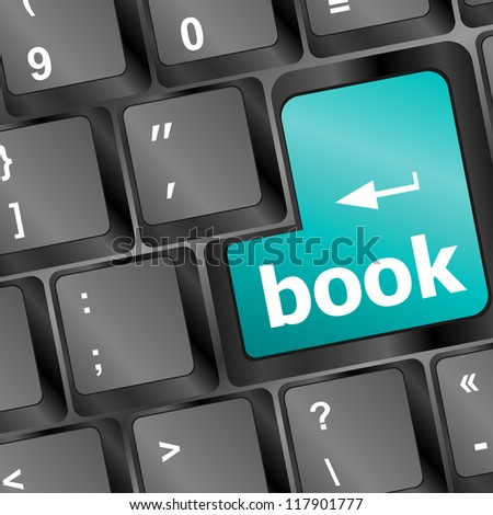 Book button on keyboard - business concept, raster