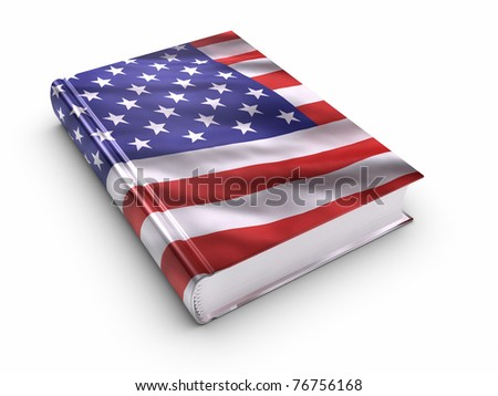Book covered with American flag.