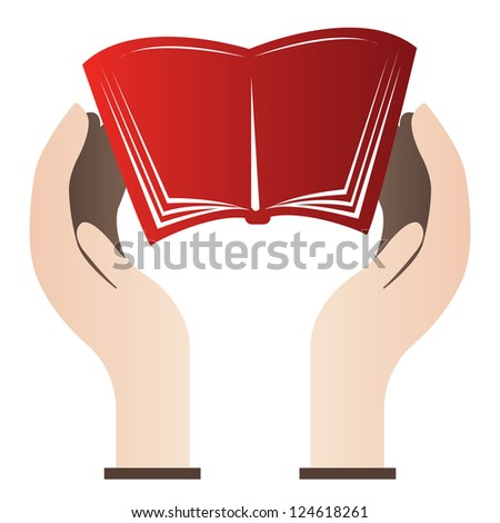 Book Donation Concept � Open Book With Hand Isolate on White Background - stock photo